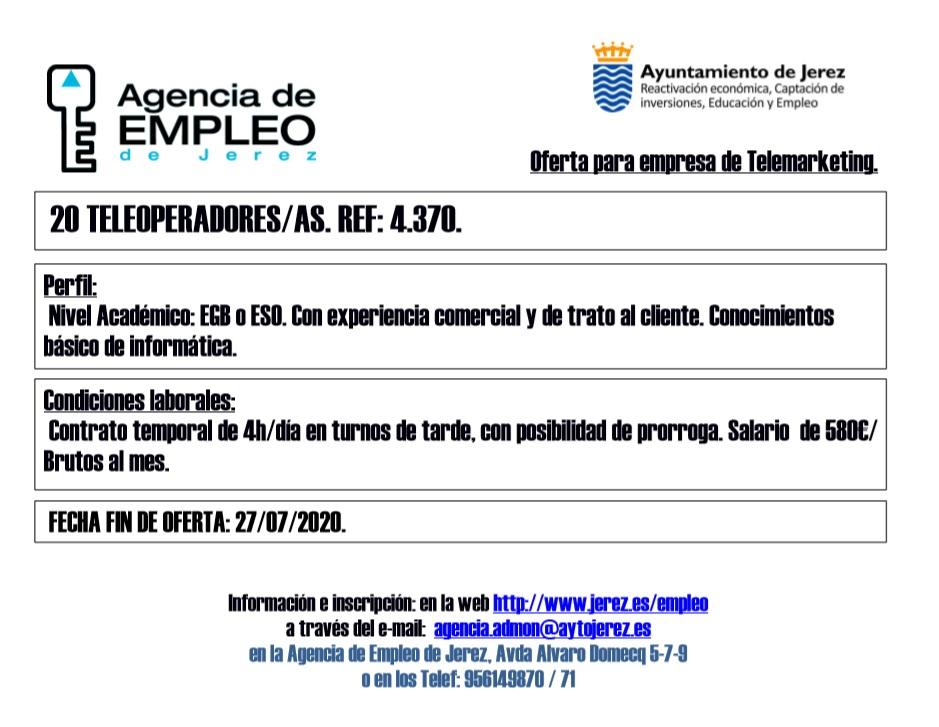 Oferta Agencia de Empleo Jerez