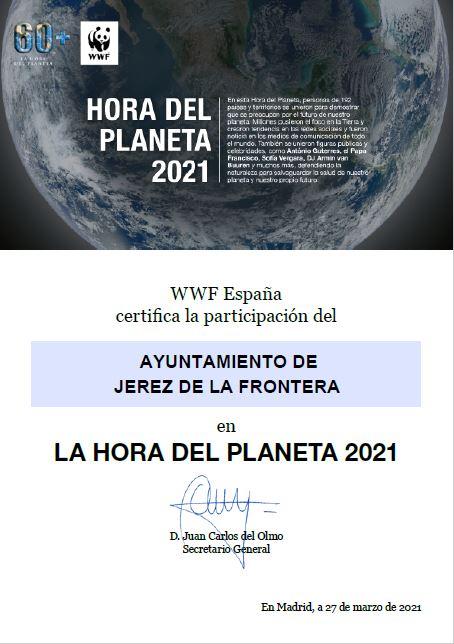 La Hora del Planeta. Certificado
