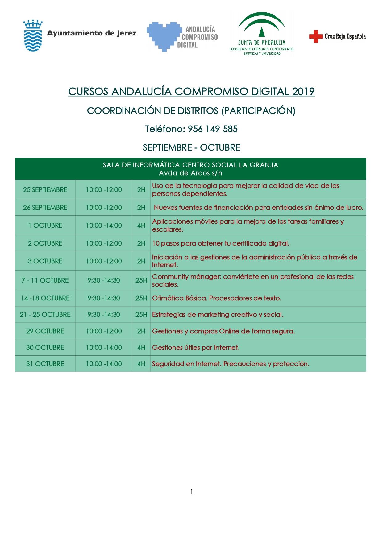Cursos Andalucía Compromiso Digital. Tercer trimestre 2019. SALA DE INFORMÁTICA CENTRO SOCIAL LA GRANJA