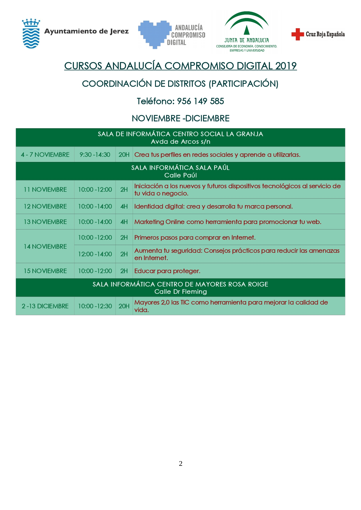 Cursos Andalucía Compromiso Digital. Tercer trimestre 2019. La Granja, Sala Paúl y Rosa Roige