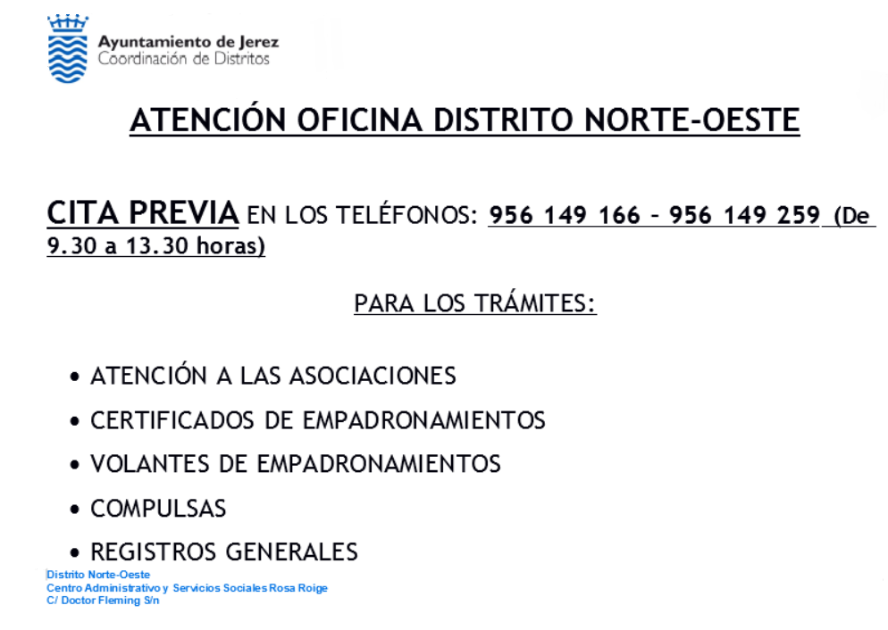 Cartel Atención Distritos Norte-Oeste
