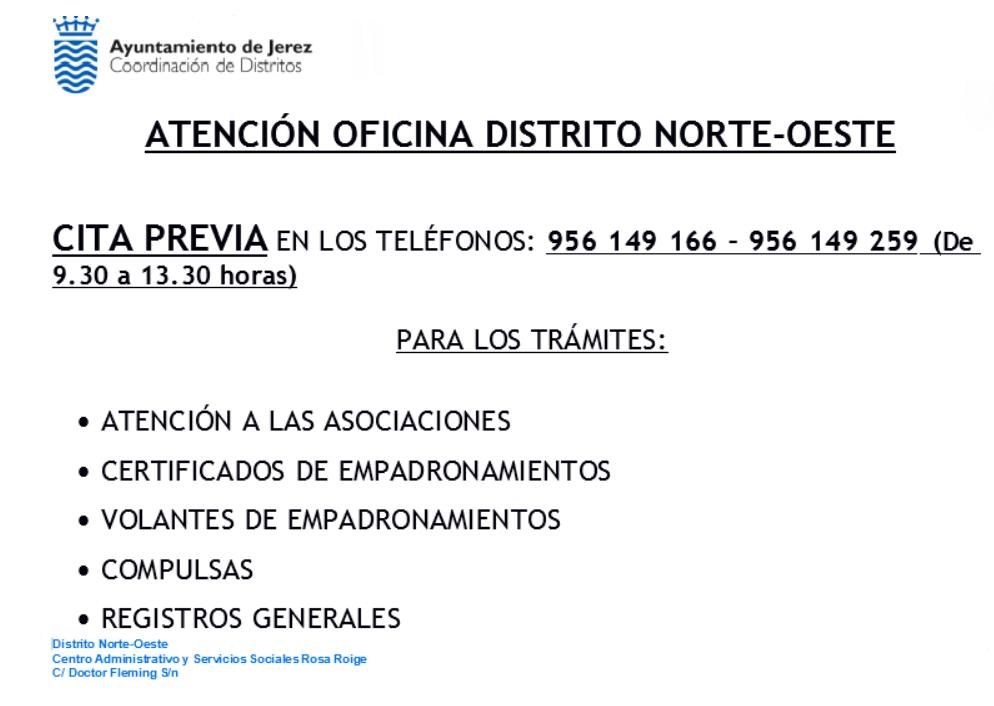 Cartel Atención Distrito Norte-Oeste