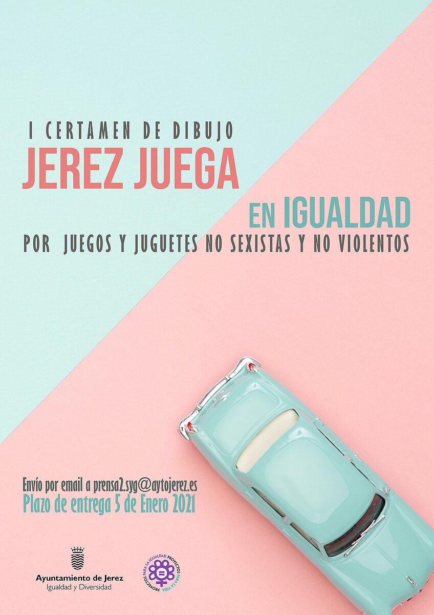 """Cartel I Certamen de Dibujos """"Jerez Juega en Igualdad"""""""