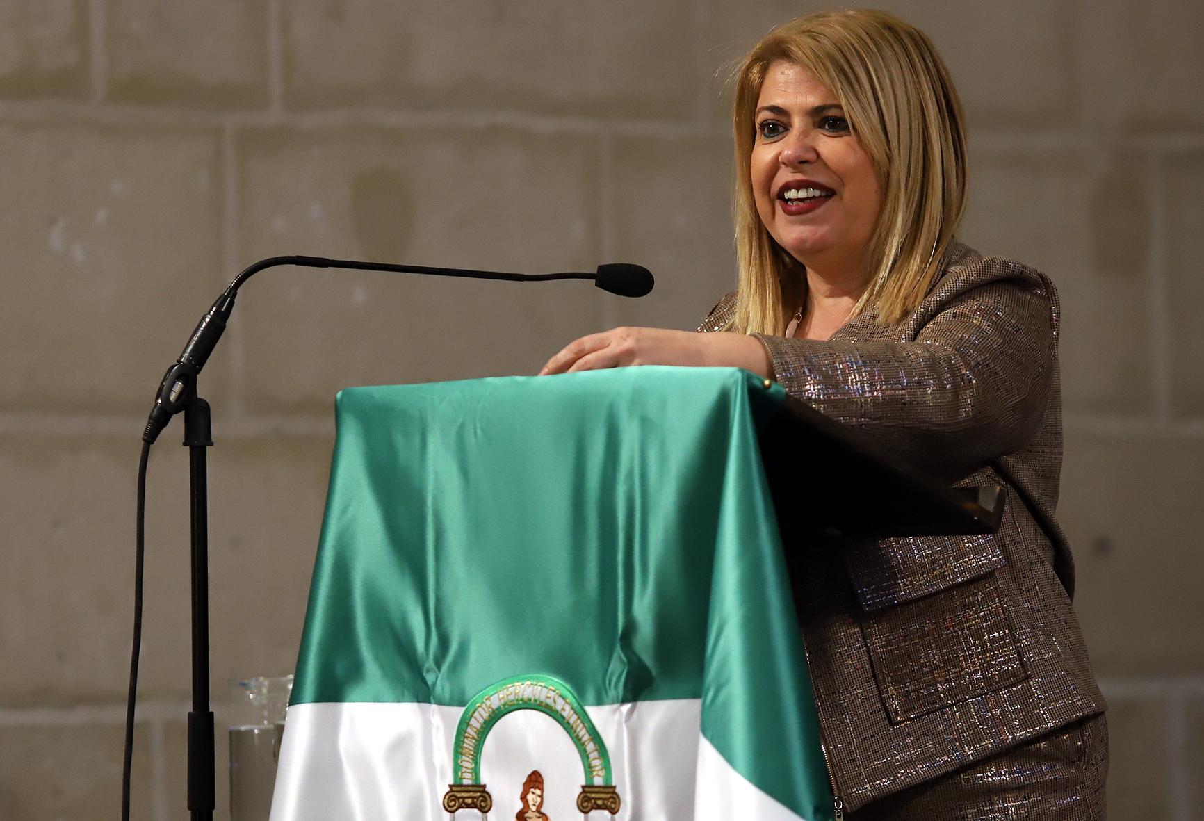 Instante de la intervención de Mamen Sánchez en la celebración del Día de Andalucía