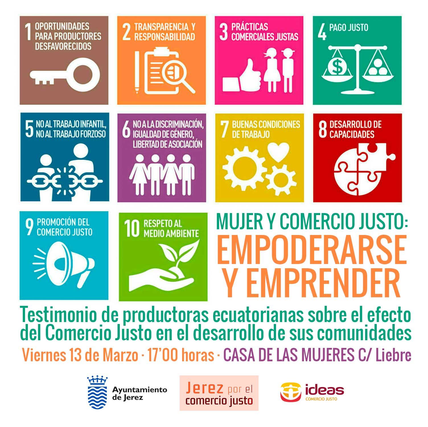 Cartel actividad Mujer y Comercio Justo