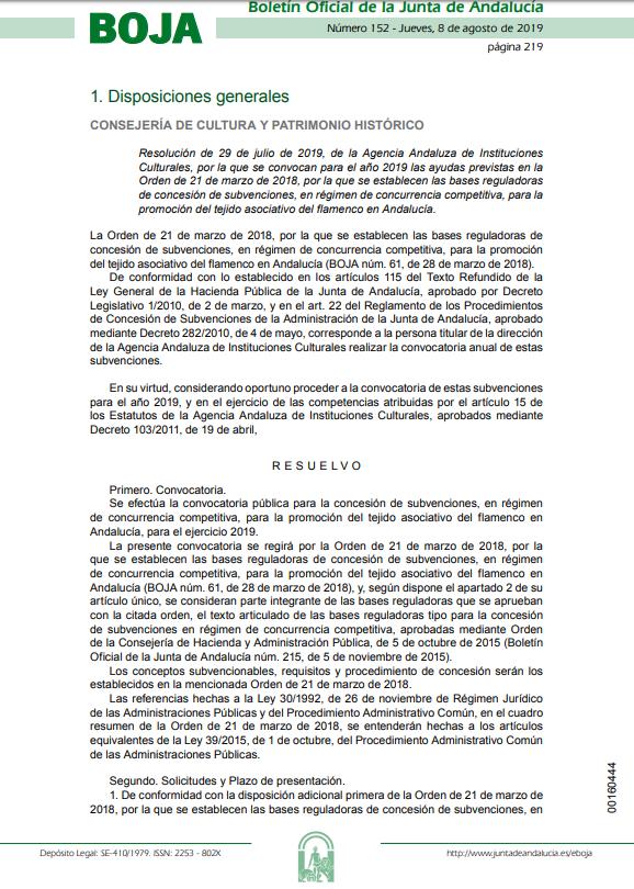 Convocatoria subvenciones asociaciones de flamenco