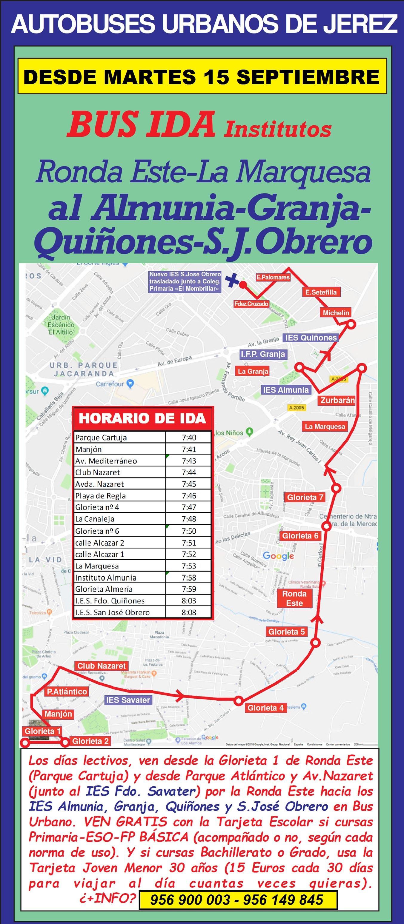 Imagen recorrido Bus Ida Institutos